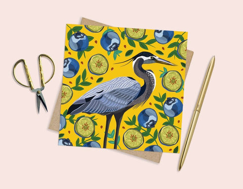 Heron and Blueberries Card