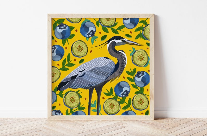 Heron and Blueberries Print