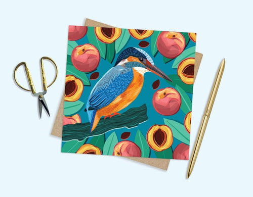 Kingfisher and Peaches Card