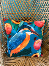 Load image into Gallery viewer, Kingfisher and Peaches Cushion