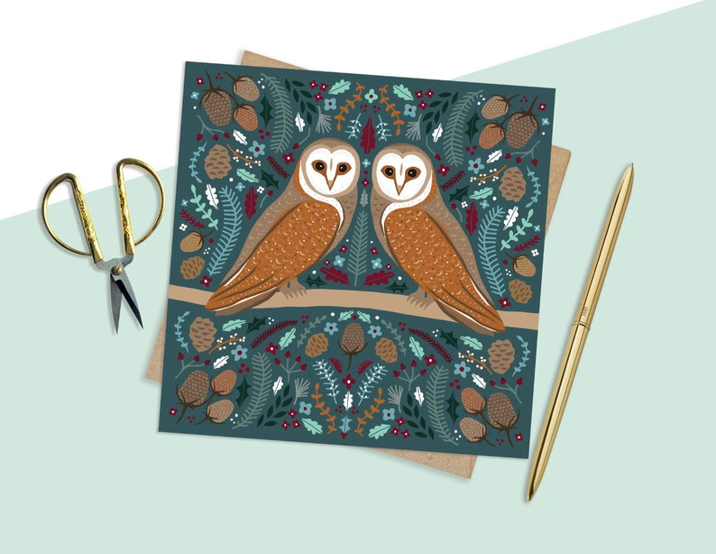 Folk Owl Card