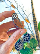 Load image into Gallery viewer, Folk Owl Enamel Pin