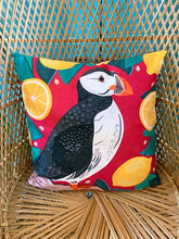 Load image into Gallery viewer, Puffin and Lemons Cushion