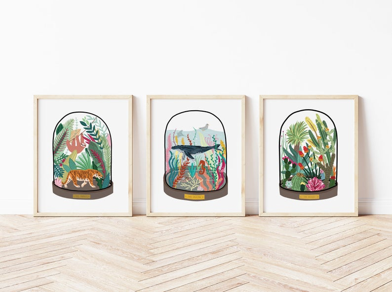 Set of 3 Bell Jar Prints