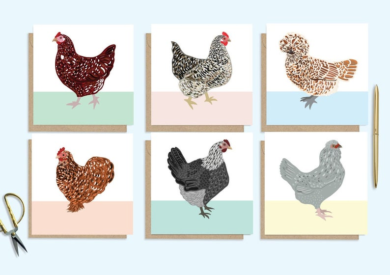 Set of 6 Chicken Cards