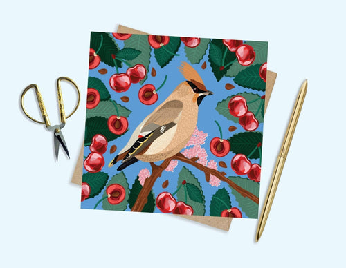 Waxwing And Cherries Card