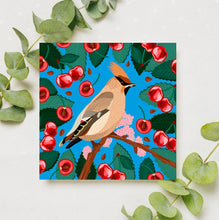 Load image into Gallery viewer, Waxwing And Cherries Card