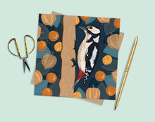 Load image into Gallery viewer, Woodpecker and Physalis Card
