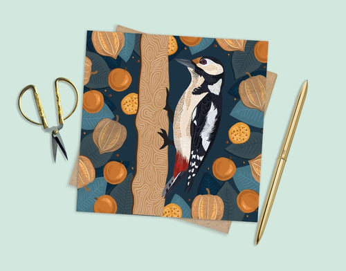 Woodpecker and Physalis Card