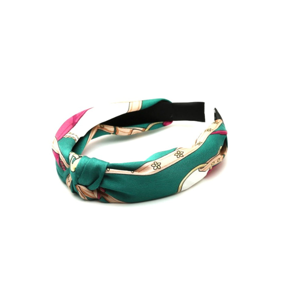 green printed headband