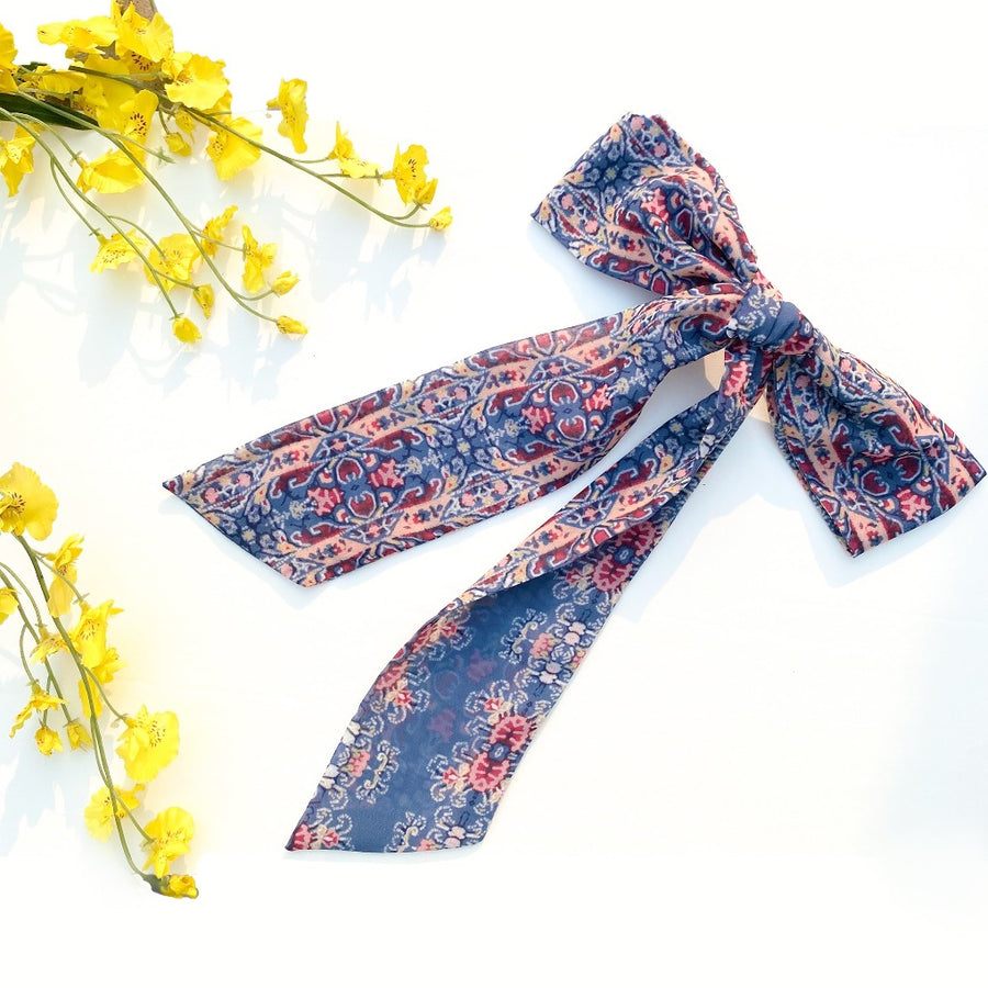 blue printed ribbon bow for hair