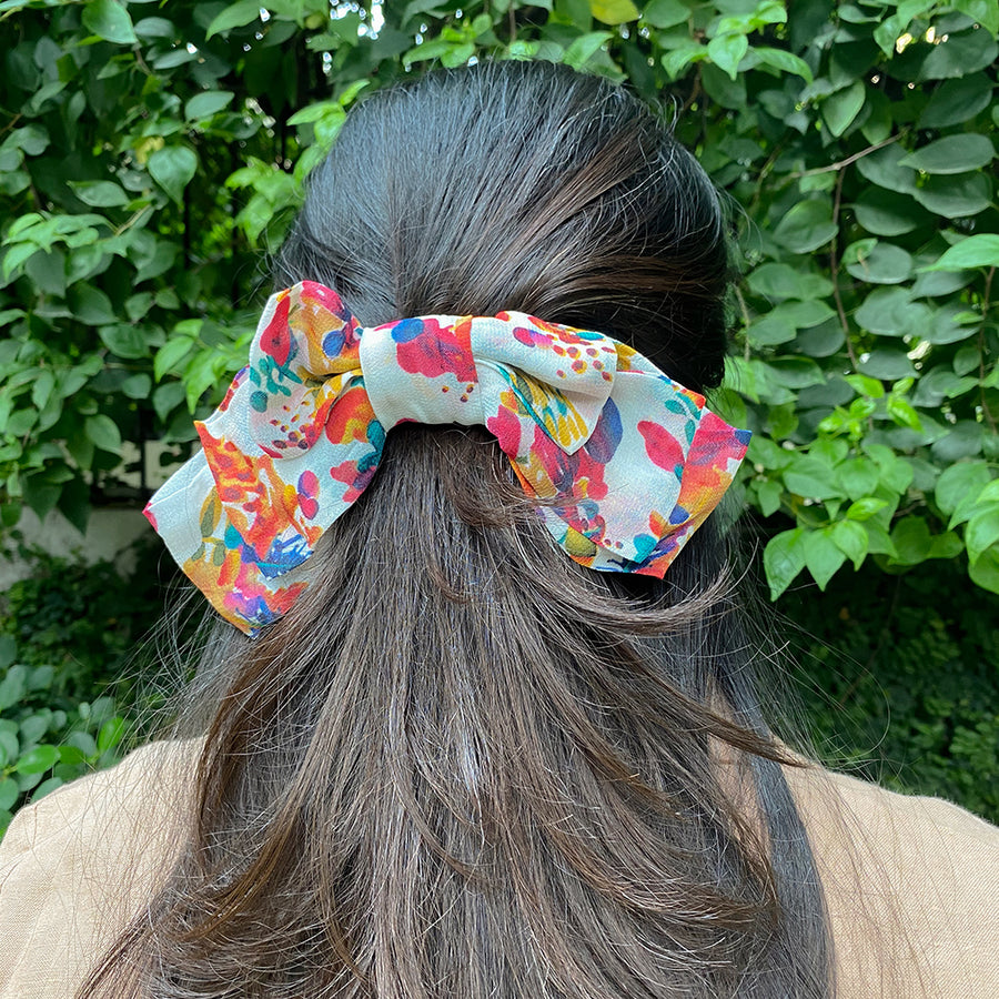 colourful bow barrette