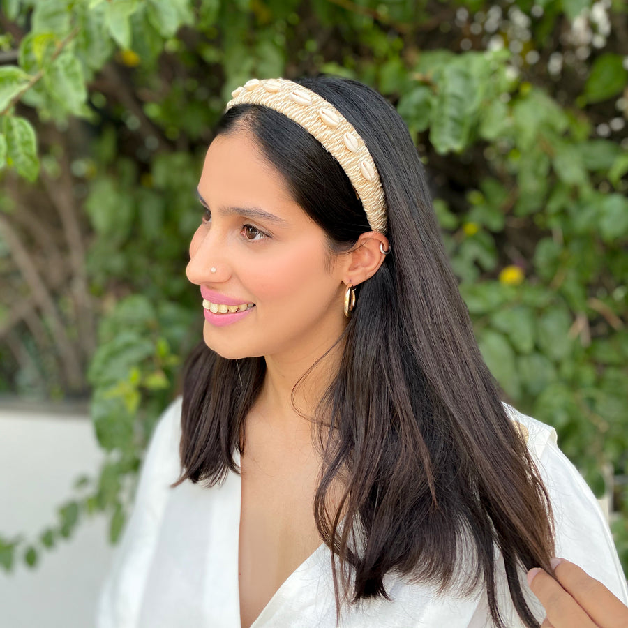 Girl wearing Jute Headband with shells