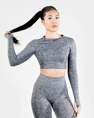 Lexi Seamless Long Sleeve Cropped Top - Stone