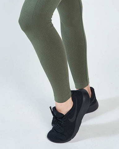 Vertical High Waisted Leggings - Army Green