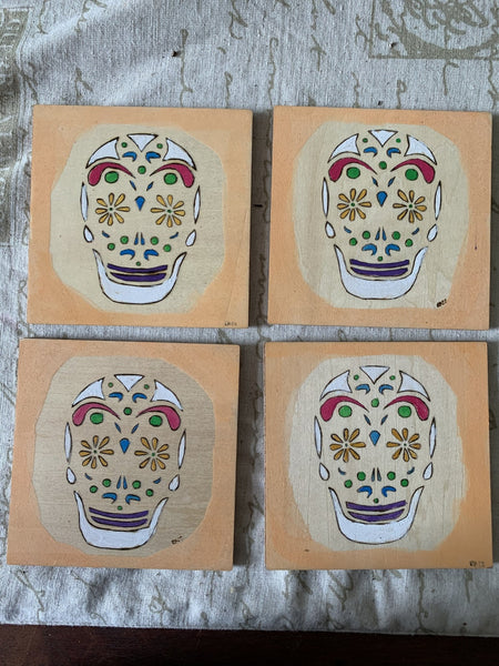 Coasters - Sugar Skull Set of 4 - Lunar Dragonfly