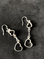 Linked Hearts Sterling Silver Earrings. - Lunar Dragonfly