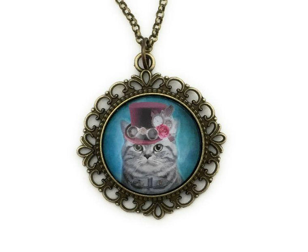 Steampunk Tabby Cat Necklace - Lunar Dragonfly