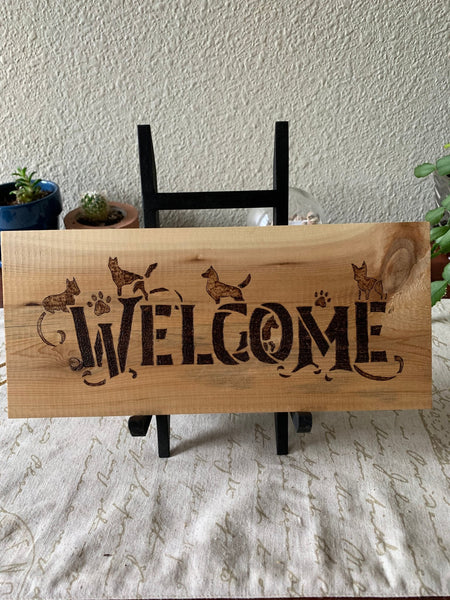 Welcome Sign - Doggies - Lunar Dragonfly