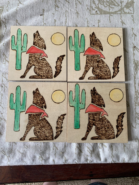 Wood Burned Coasters - Set of 4 - Coyote - Lunar Dragonfly