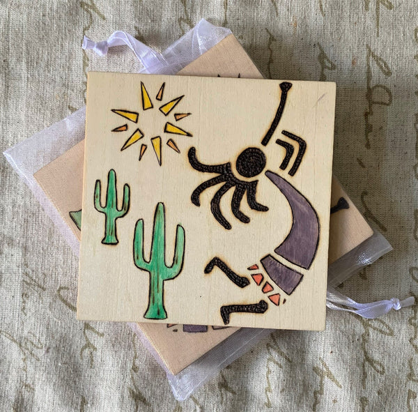 Woodburned Coasters - Set of 5 - Kokopelli - Lunar Dragonfly
