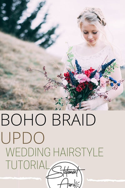 5 Steps Tutorial For A Boho Braid Updo Wedding Hairstyle