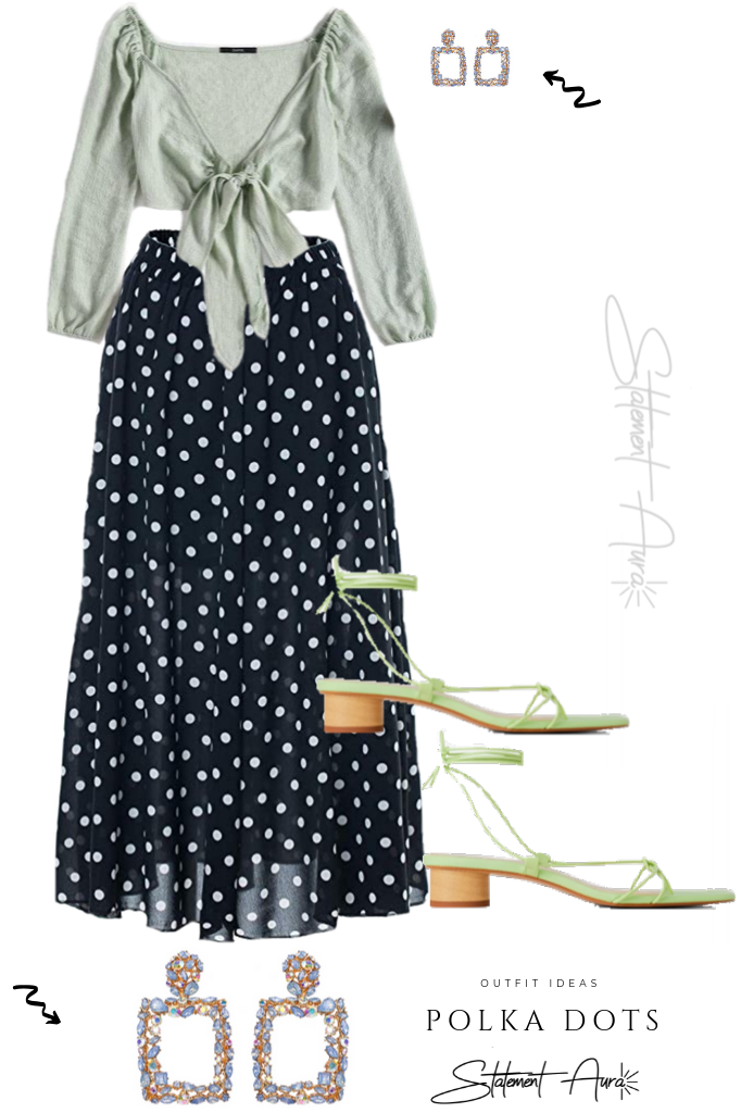 Outfit idea #3. Blue Polka Dots Maxi Skirt with statement earrings