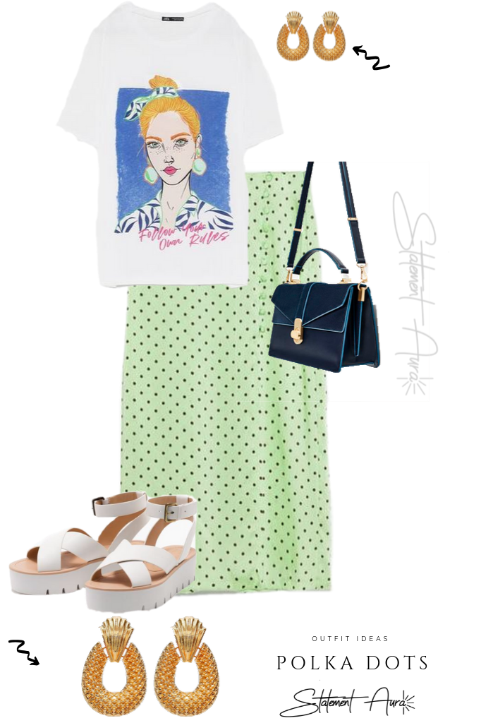 Outfit Idea #6. Zara Green Polka Dots Skirt with shirt and statement earrings