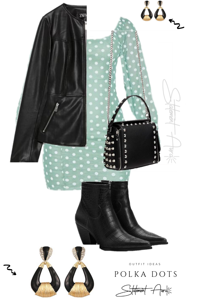 Outfit Idea #7.  Green Polka Dress with Zara Leather Jacket and Cow Boy Boots and statement earrings