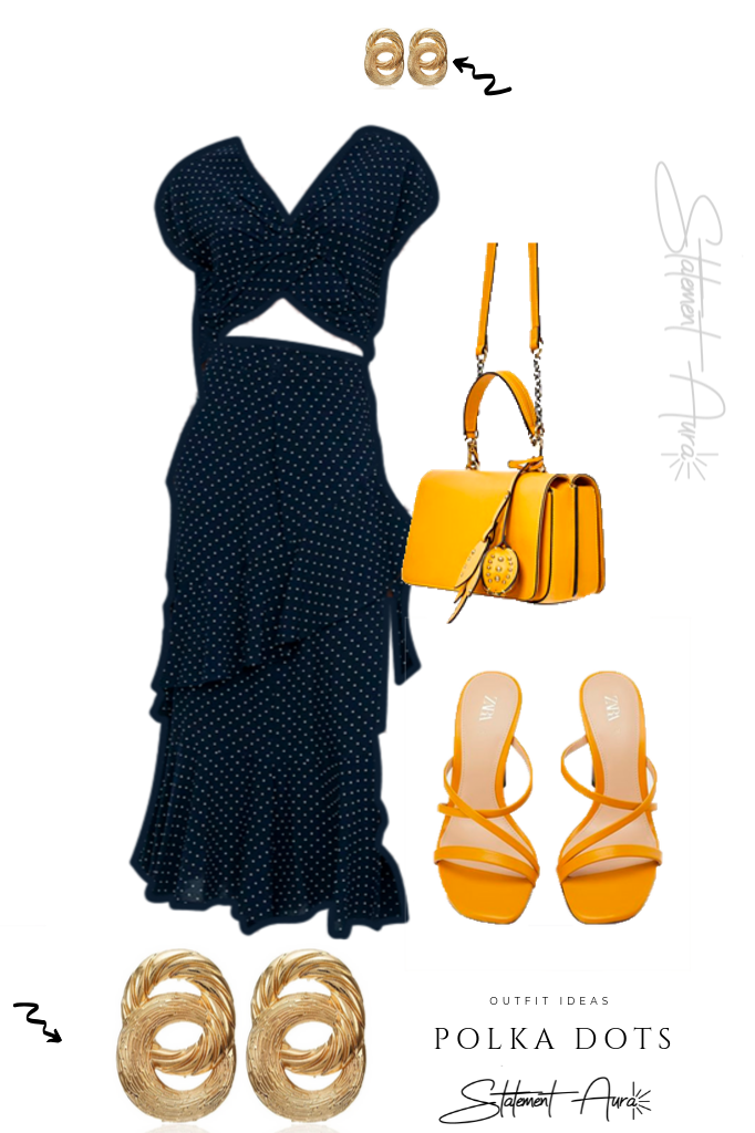 Outfit Idea #8. Navy Blue Polka Dots Dress with Mustard Yellow Purse and Sandals from Zara.