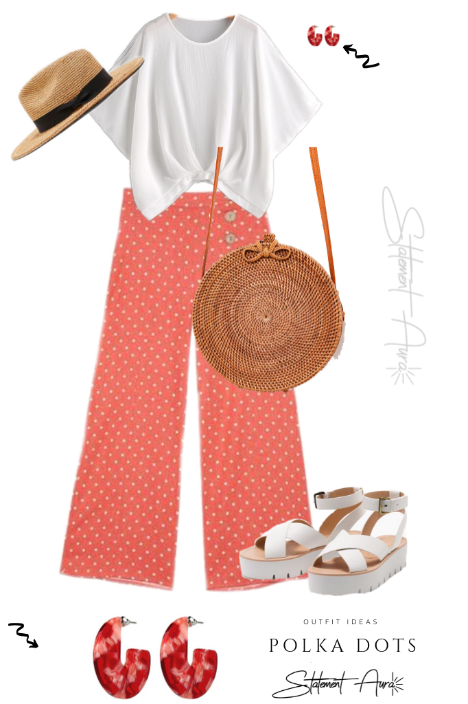 Outfit Idea #9. Red Polka Dots Culotte with Zara hat.