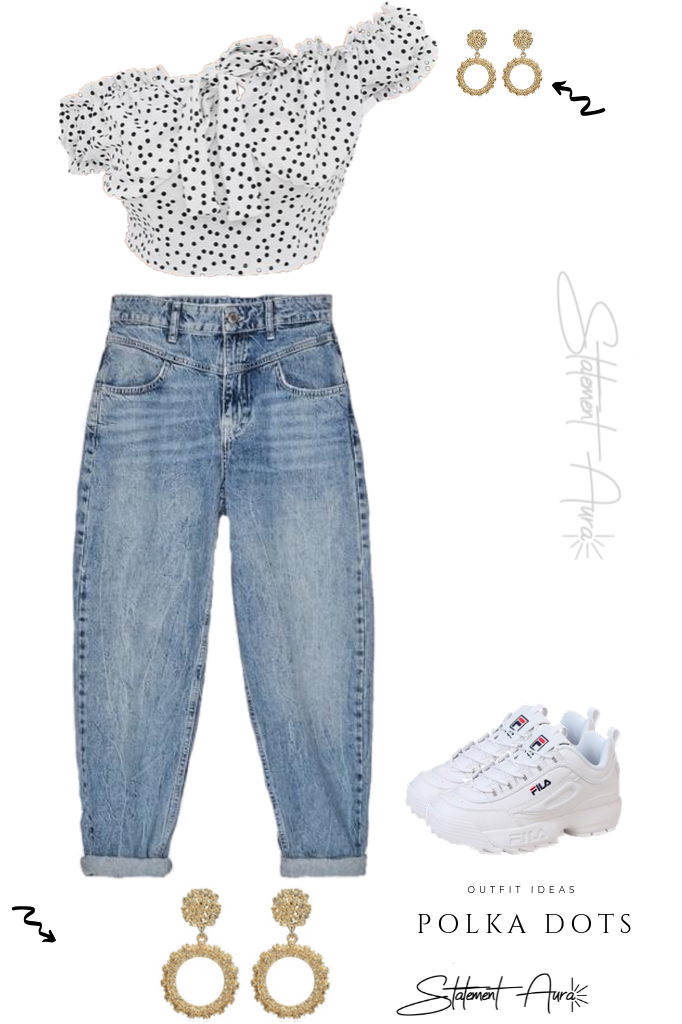 Outfit Idea #10. White Off-the-shoulder Polka Dots Top with Jeans and Sneakers with statement earrings