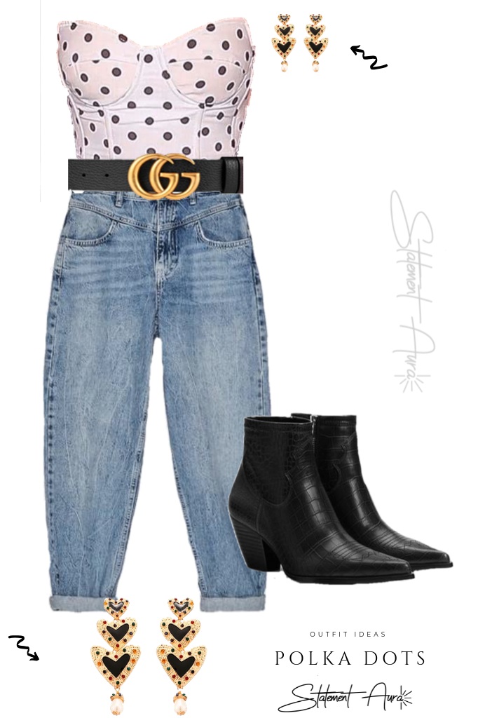 Outfit Idea #11 Polka Dots Bustier Top with Zara Jeans and Cowboy Boots and statement earrings