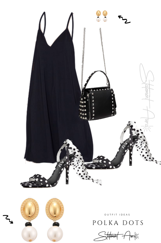 Outfit Idea #12 Zara Black Strappy Dress with Polka Heels and Pearls.