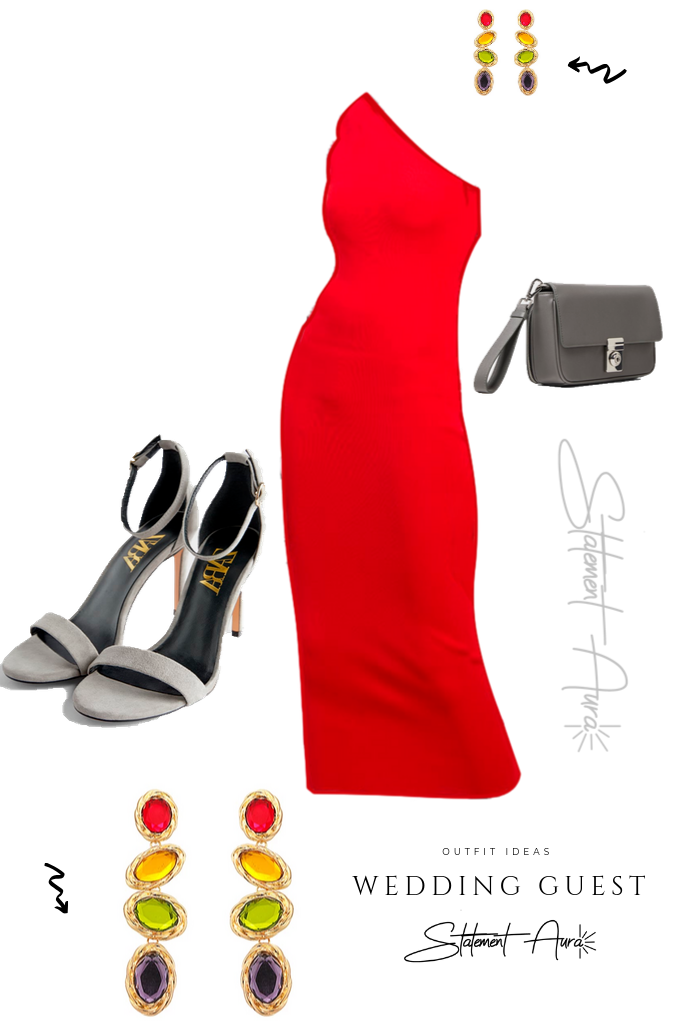 Outfit for wedding guest #1. Red asymmetric pencil dress (Wedding outfit for summer)