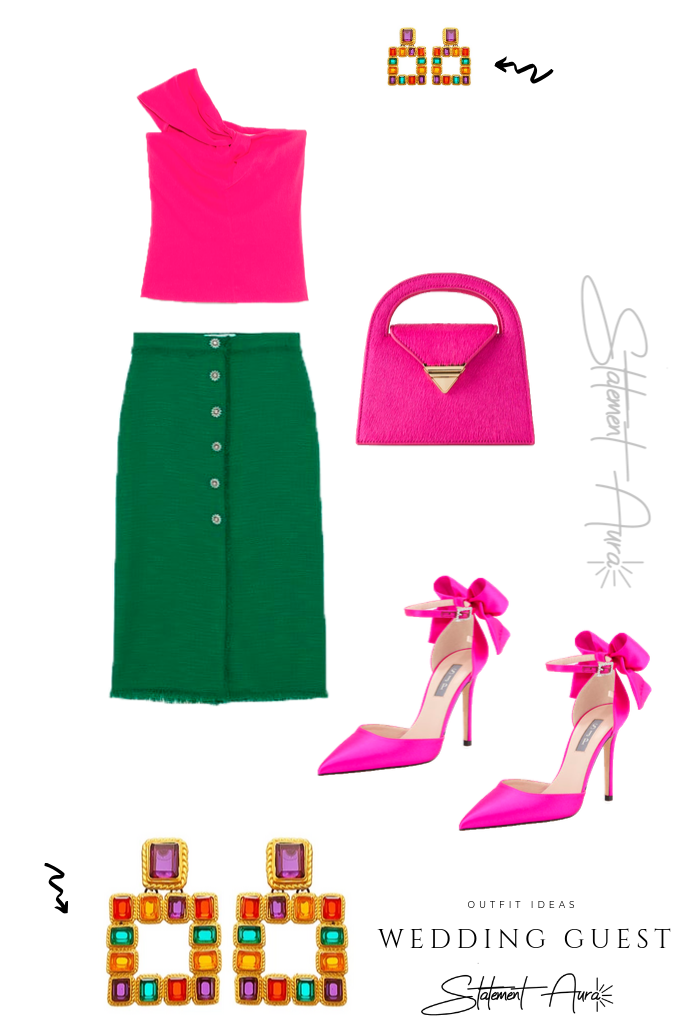 Outfit for wedding guest #3. Fuchsia knotted asymmetric top with green skirt (April wedding outfit for guest) Are skirts appropriate for weddings?