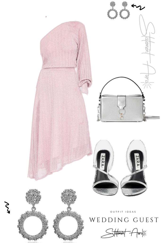Outfit for wedding guest #5 Metallic thread asymmetric dress with metallic high heel sandals (Fall wedding outfit)