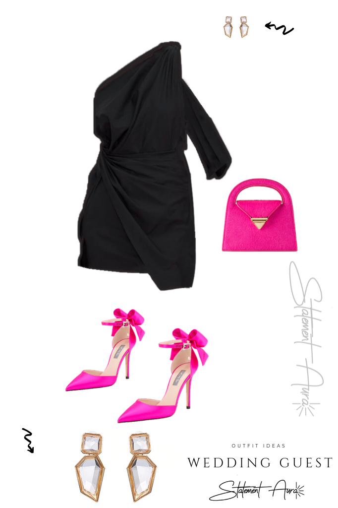 Outfit for wedding guest #6 Mini dress with bow fuchsia shoes and city bag (Wedding outfit for summer).