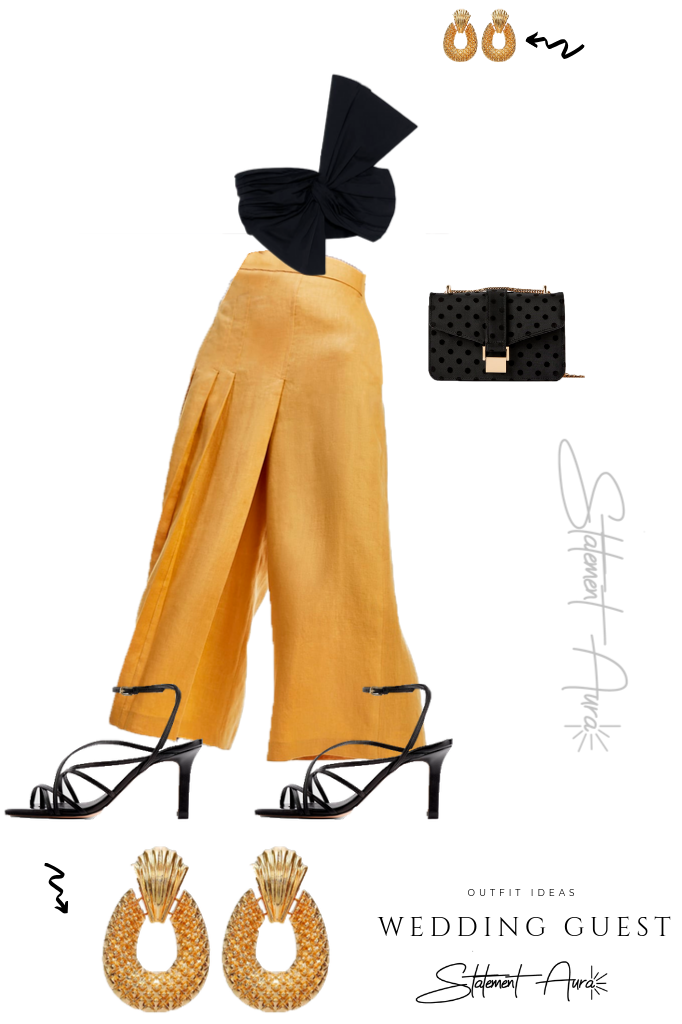 Outfit for wedding guest #7 Black knotted cropped top and yellow cropped pants (Wedding Outfit Pants)