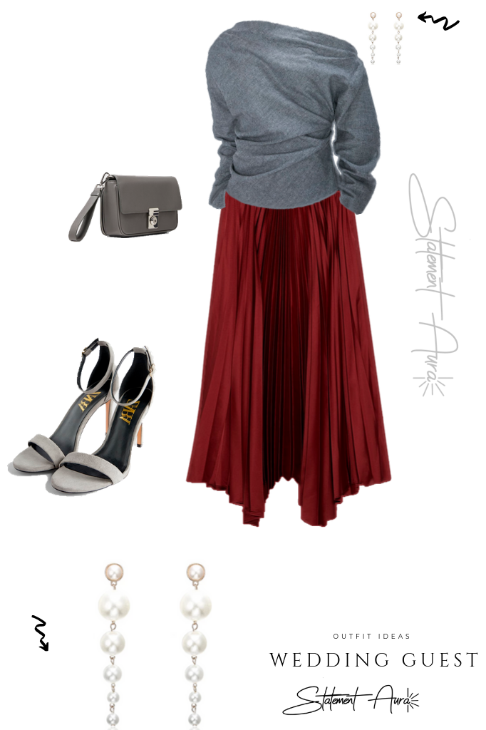 Outfit for wedding guest #10.  Marron Pleated skirt with asymmetric long-sleeved top. (Wedding outfit for winter).