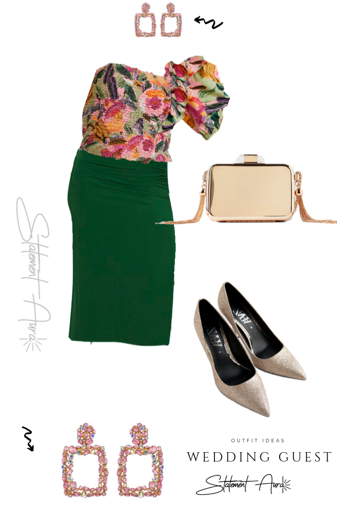 Outfit for wedding guest #11 Short top with asymmetrical balloon sleeves, ruffle detail and smocked fabric. Green pencil skirt and glitter high heel shoes (Wedding outfit for summer)