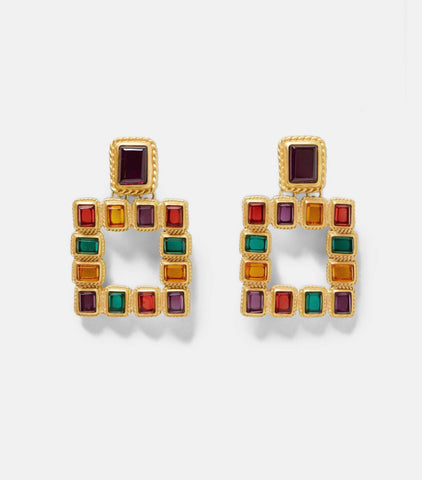 zara outlet. Statement earrings.  multi-colored squared earrings