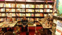 Wendy is reading The Gingerbread Man Kamishibai at Waterstones in Chiswick, London