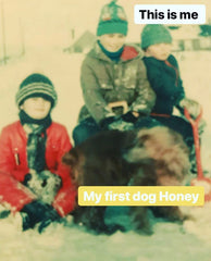 Me and my siblings when we were children, playing in the snow with our dog Honey.