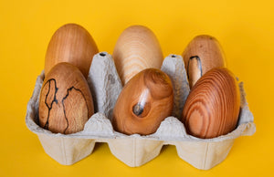 Six Hand Turned Wooden Eggs - The Sidlaw Hare