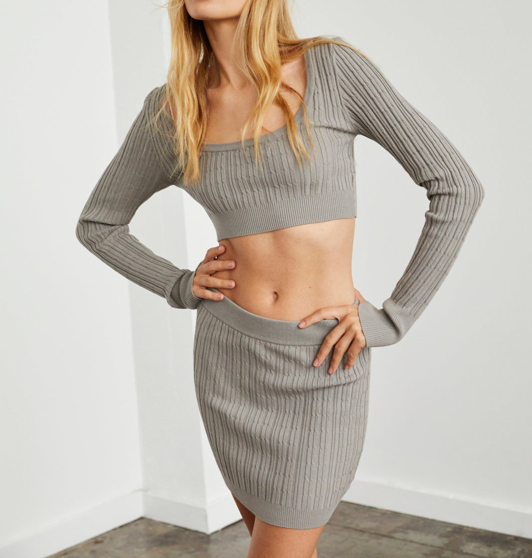 Cable Knit Long Sleeve Crop Sweater