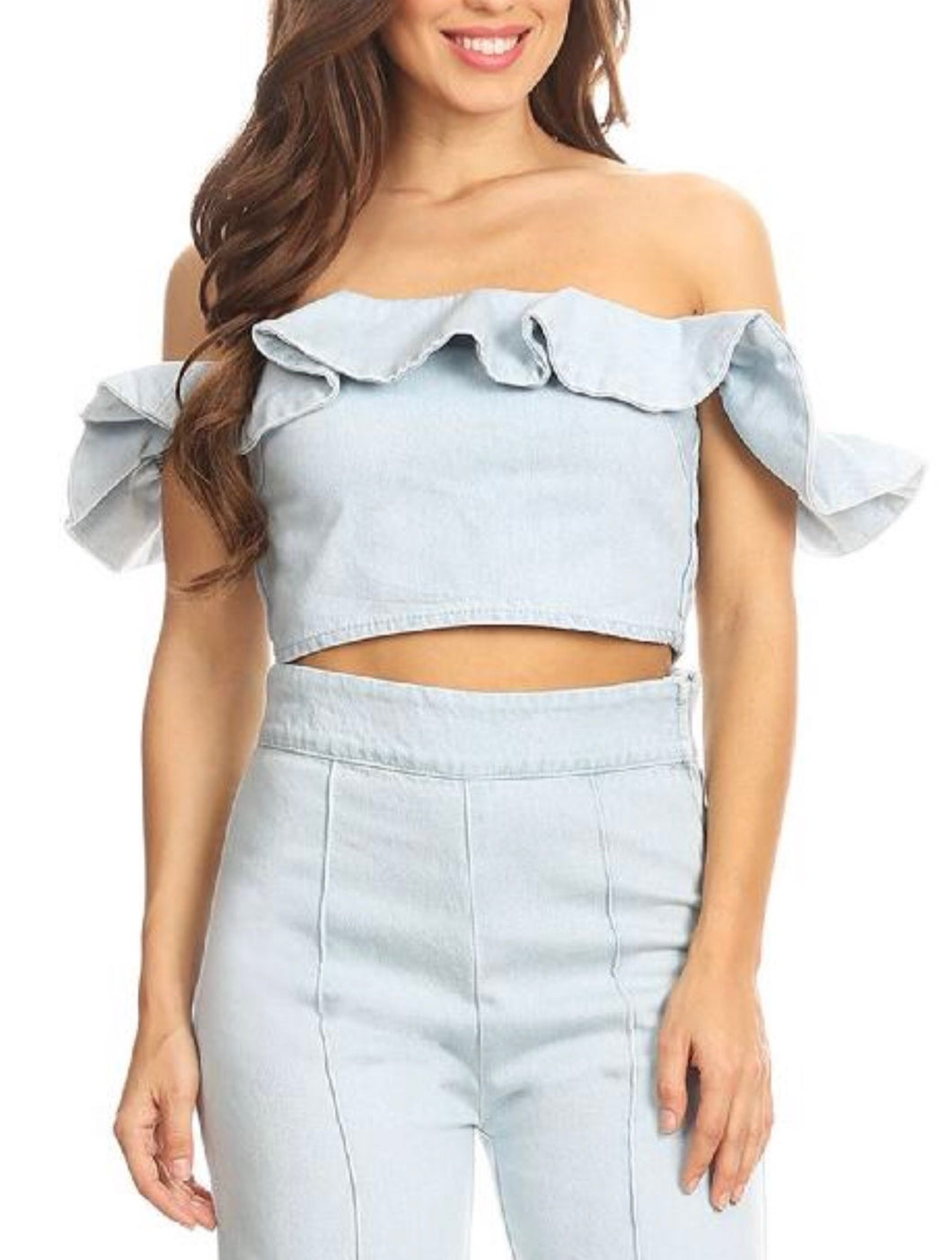 Light Wash Denim Off The Shoulder Ruffle Crop Top