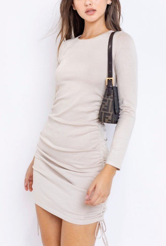 Crew Neck Long Sleeve Double Side Ruch Mini Knit Sweater Dress