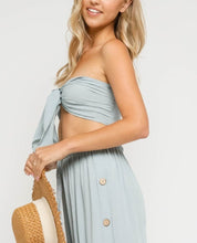 Load image into Gallery viewer, Tie Front Strapless Bandeau Crop Top