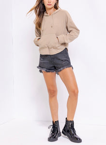 Long Sleeve Textured Rib Kangaroo Pocket Hoodie